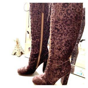 Alice & Olivia Embossed Velvet Knee-High Boots
